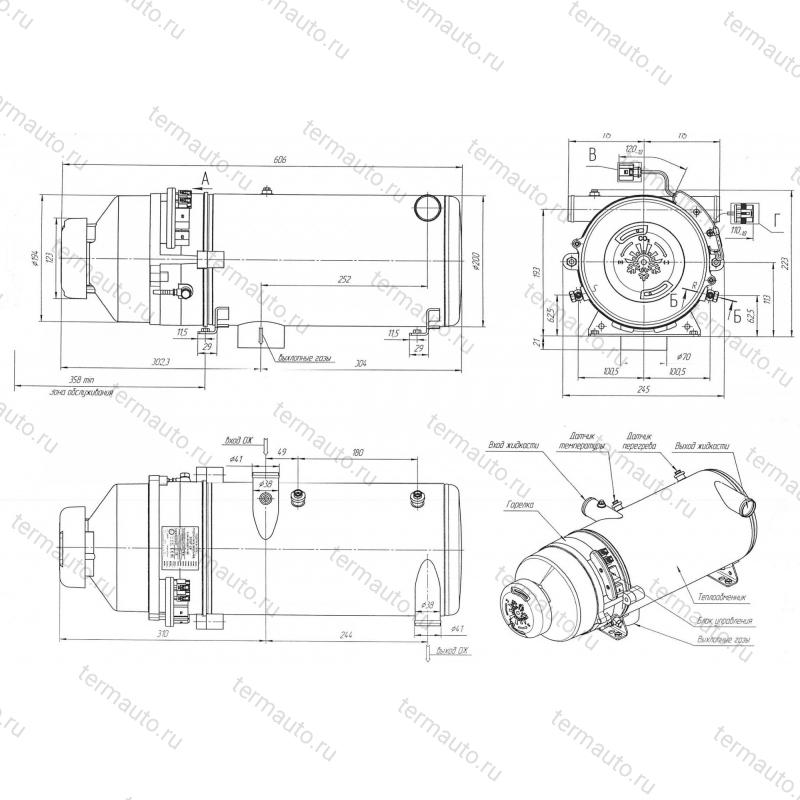 размеры и габариты подогревателя 30SP-24
